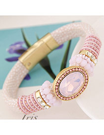 Trendy Pink Oval Shape Gemstone Decorated Simple Magnetic Snap Bracelet