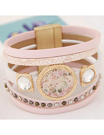 Trendy Pink Round Shape Gemstone Decorated Multi-layer Magnetic Snap Bracelet