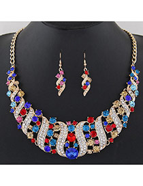 Fashion Multi-color Round Shape Diamond Decorated S Shape Simple Jewelry Sets