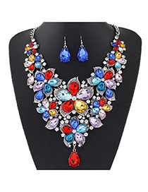 Fashion Multi-color Water Drop Shape Diamond Decorated Flower Shape Jewelry Sets