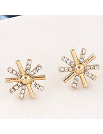 Sweet Gold Color Diamond Decorated Sunflower Shape Earrings