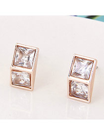 Sweet Rose Gold Square Shape Diamond Decorated Three-dimensional Earrings
