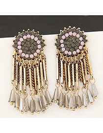 Vintage Navy+pink Long Tassel&gemstone Decorated Flower Shape Earrings