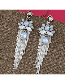 Vintage White Long Tassel&gemstone Decorated Simple Earrings