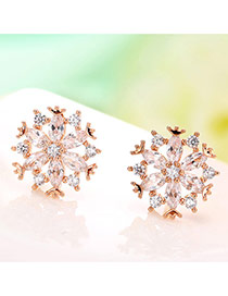 Sweet Rose Gold Round Shape Diamond Decorated Snowflake Shape Earrings