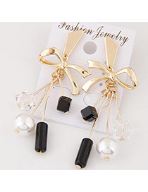 Fashion Gold Color Square Shape Diamond&pearl Decorated Bowknot Shape Earrings