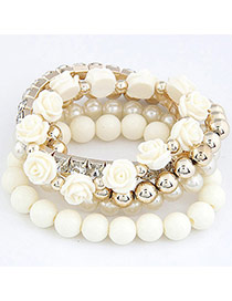 Trendy White Gemstone&flower&pearl Decorated Multi-layer Simple Bracelet