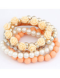 Trendy Orange Gemstone&flower&pearl Decorated Multi-layer Simple Bracelet