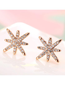 Sweet Rose Gold Full Diamond Decorated Sunflower Shape Earrings