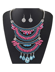 Retro Blue+plu7m Red Oval Diamond Decorated Multilayer Short Chain Jewelry Sets