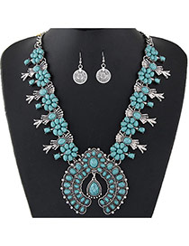 Personality Blue Flower Shape Decorated Short Chain Jewelry Sets