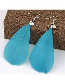 Elegant Green Pure Color Feather Pendant Decorated Simple Earring