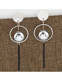 Sweet Silver Color Vertical Bar Pendant Decorated Round Earring