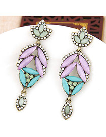 Sweet Multi-color Geometric Gemstone Decorated Simple Earring