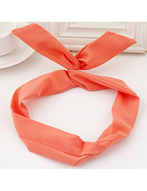 Sweet Orange Pure Color Decorated Bunny Ears Simple Hair Hoop&hair Band