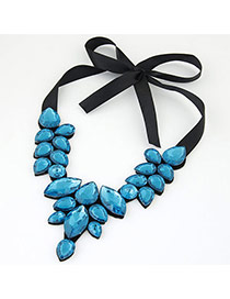 Trendy Dark Blue Water Drop Shape Gemstone Decorated Short Chain Necklace