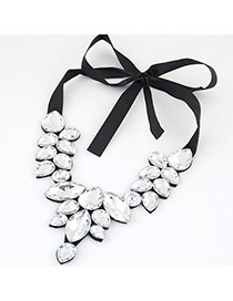 Trendy White Water Drop Shape Gemstone Decorated Short Chain Necklace