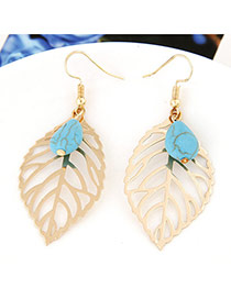Vintage Gold Color+blue Hollow Out Leaf&gemstone Pendant Decorated Earrings