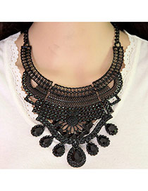 Fashion Black Water Drop Shape Gemstone Decorated Hollow Out Necklace