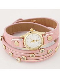 Fashion Pink Diamond Decorated Pure Color Strap Double Layer Watch
