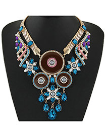 Fashion Dark Blue Water Drop Shape Gemstone Pendant Decorated Double Layer Collar Necklace