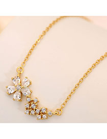 Sweet Gold Color Gemstone Decorated Flower Shape Simple Necklace