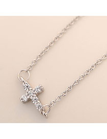 Sweet Silver Color Cross Pendant Decorated Simple Long Necklace
