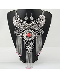 Exaggerate Silver Color Metal Tassel Decorated Hollow Out Jewelry Sets