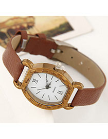 Fashion Brown Pure Color Watch Strap Decorated Simple Watch