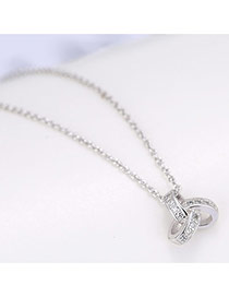Delicate Silver Color Round Shape Pendant Decorated Simple Long Chain Necklace