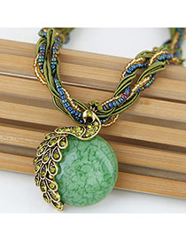 Exaggerate Green Peacock Decorated Round Pendant Simple Necklace