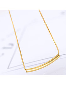 Fashion Gold Color Strip Pendant Decorated Long Chain Necklace