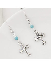 Vintage Silver Color+blue Bead& Cross Shape Pendant Decorated Simple Earring