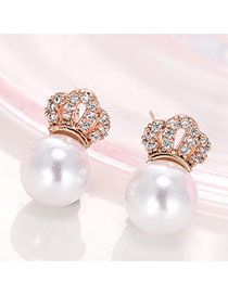 Cute White+pink Pearl&crwon Shape Decorated Simple Design Earrings