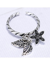 Fashion Silver Color Hollow Out Leaf& Flower Shape Decorated Opening Ring
