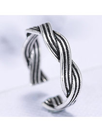 Retro Silver Color Thread Shape Decorated Geometric Simple Opening Ring