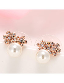Retro Rose Gold Pearl& Diamond Decorated Simple Flower Shape Earrings