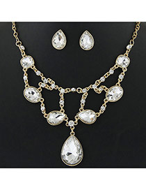 Delicate Transparent Waterdrop Shape Pendant Decorated Simple Design Jewelry Sets