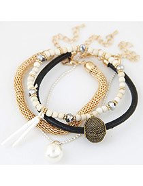 Trendy Multi-color Bead Decorated Multilayer Simple Design Bracelet