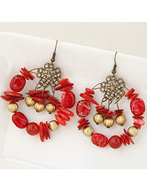 Bohemia Multi-color Bead Decorated Round Shape Simple Design Hollow Out Earrings