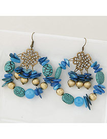 Vintage Multi-color Bead Decorated Round Shape Simple Design Hollow Out Earrings