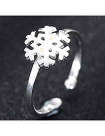 Trendy Silver Snowflake Shape Decorated Simple Design Opening Ring