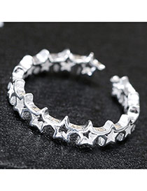 Fashion Silver Star Shape Decorated Hollow Out Simple Opening Ring