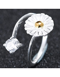Trendy Silver Diamond& Flower Shape Decorated Simple Design Opening Ring