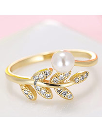 Fashion Gold Color Diamond& Bead Decorated Leaf Shape Design Opening Ring