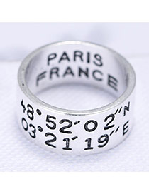 Fashion Anti-silver Figure& Letter Decorrated Simple Design Wide Ring