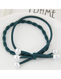 Trendy Deep Green Bead Decorated Bilayer Design Pure Color Hairband