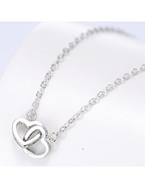 Trendy Silver Color Hollow Out Double-heart Shape Pendant Decorated Pure Color Necklace