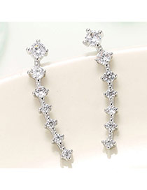 Delicate Silver Color Diamond Decorated Geometric Shape Design Pure Color Earrings