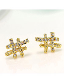 Delicate Gold Color Diamond Decorated Geometric Shape Simple Design Pure Color Earrings